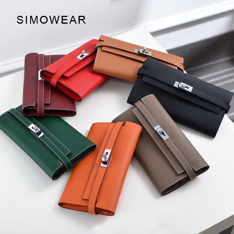 SIMOWEAR Women Wallets Lucury Famous Brand Genuine Leather Female Purses Long Design Clutch Wirh Card Holder Top Quality top brand genuine leather wallets for men women large capacity zipper clutch purses cell phone passport card holders notecase