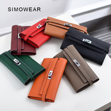 Купить с кэшбэком SIMOWEAR Women Wallets Lucury Famous Brand Genuine Leather Female Purses Long Design Clutch Wirh Card Holder Top Quality