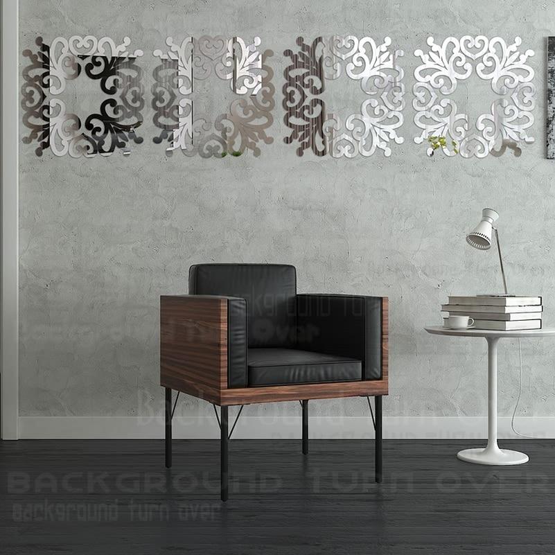 DIY elegant flower square ring acrylic wall mirror sticker 3D sofa wall TV backdrop stickers home decor R183
