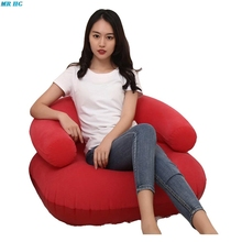Inflatable Flocking Sofa Strong PVC Leisure Collapsible Living Room U-Shaped Sofa TV Chair with Armrests Blue Red Single Lounge