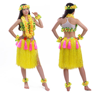 8pcs/set 60/80cm encryption thickening women hula skirt high quality Hawaiia lady grass skirt costumes Festive Party Supplies