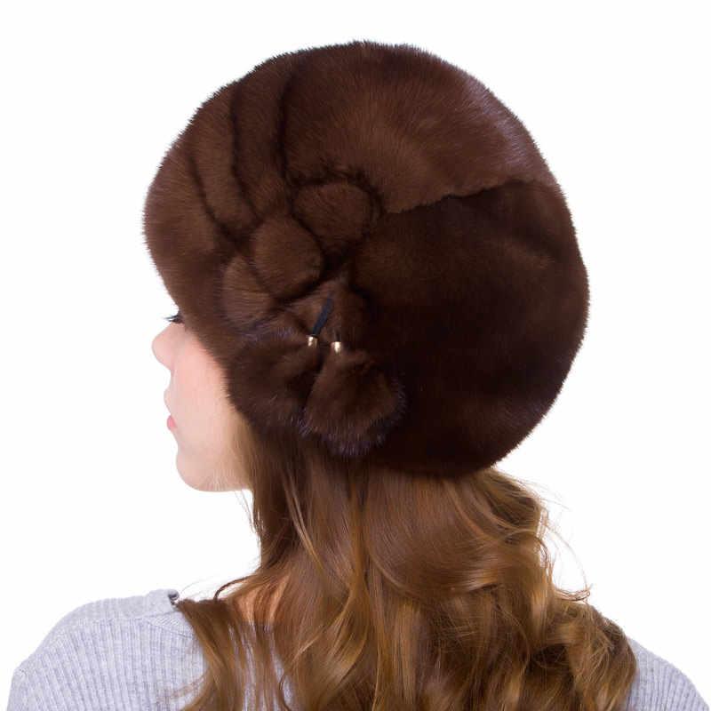 Verdadeira pele de vison boina cap cabeça chapéu bola de pele de vison acessórios tamanho ajustável chapéu de festa da moda de outono e inverno das mulheres DHY18-08