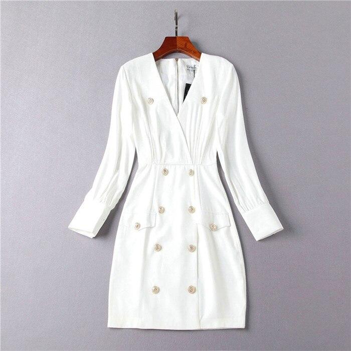 Mode Femmes black Boutonnage Manches Bouton Office White Designer Automne Qualité Robe Nouvelle Milan À Vintage Des Longues Piste De Double Haute 2018 Or 8wvvBq
