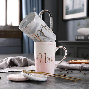 Image 4 - JOUDOO Luxury Marble Pattern Ceramic Mugs Gold Plating MRS MR Couple Lovers Gift Morning Mug Coffee Breakfast Creative Cup 35