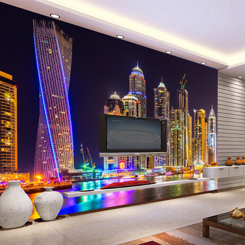 Online Shop Beautiful Dubai Night City Urban Wallpaper Large Mural Living Room TV Restaurant Bedside Backdrop Wall Personality 3D Paper