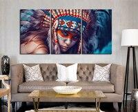 3 Painéis de Cartazes e Cópias Da Arte Da Lona Com Frame Nativa American Indian Girl Beauty Art Deco Pinturas para Sala de estar parede