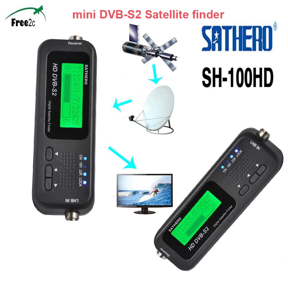 SH-100HD SAT Finder DVB-S/S2 HD Sathero Pocket Digital Satellite Finder Signal Satellite Receiver With USB 2.0 LCD Display original sathero sh 800hd dvb s2 800hd digital satellite finder meter hd output sat finder hd with spectrum analyzer