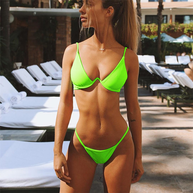 Sexy Solid Green Underwire Bikini 2019 Push Up Swimsuit -7163