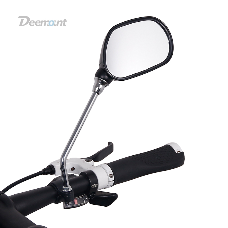 Deemount 1 Pair Bicycle Rear View Glass Mirror Bike Handlebar Wide Range Back Sight Light Reflector Angle Adjustable Mirrors
