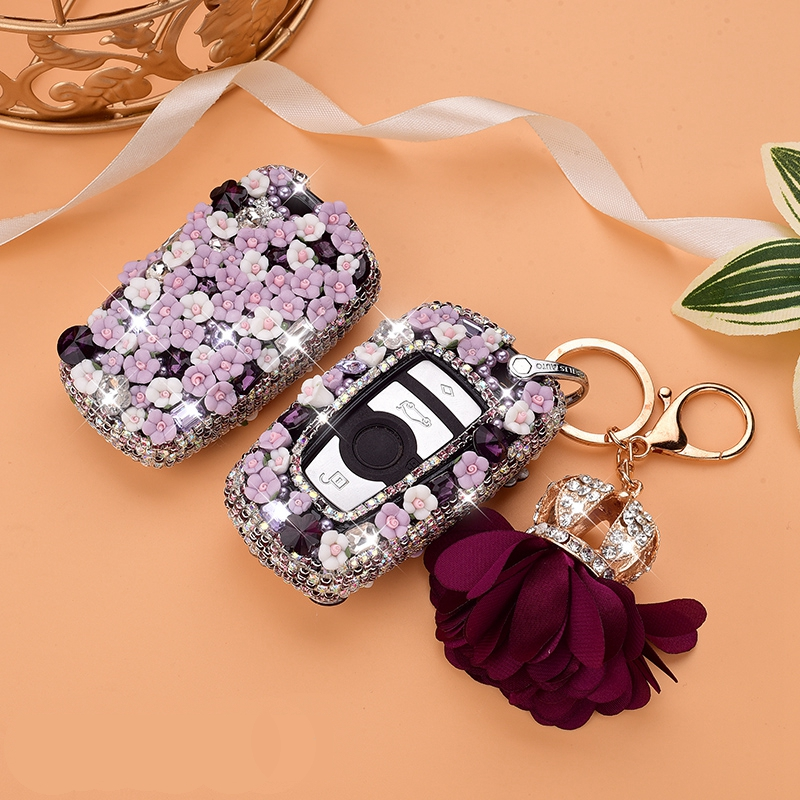 Car Luxury Diamond Bling Key Case Holder Cover For BMW X3 X4 730 <font><b>750</b></font> F30 F10 E90 E93 1 2 <font><b>3</b></font> 4 5 6 <font><b>7</b></font> Series GT M1 2 <font><b>3</b></font> Accessories image