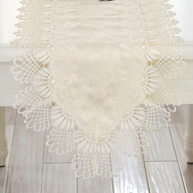 Hot European Embroidery Lace Table Runner Elegant Table Runners Brief Beige Modern Table Cover Piano Towel Dining Tablecloth