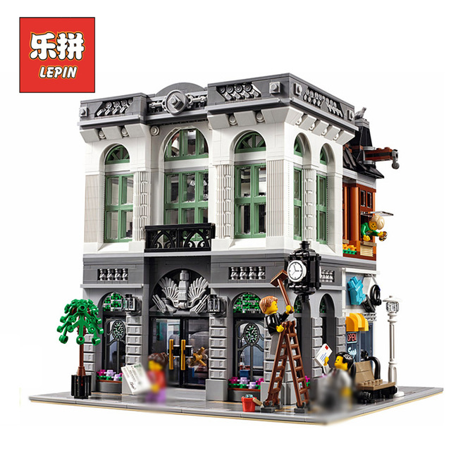 LEPIN 15001 City Street Creator Bank Set 2413Pcs Model Building Blocks Bricks with legoingly 10251 best friend Toy For children