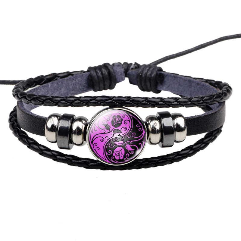 Yin Yang Tai Chi Rope Bracelet Black and White Braided Bracelet Leather Bracelets for Women Men Gifts