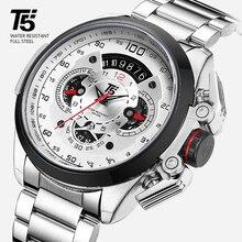 45d4a9c80 T5 de la marca de lujo de Oro Negro hombre reloj militar de deporte de  cuarzo reloj de pulsera de hombres cronógrafo impermeable.