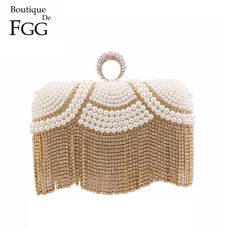 ФОТО Gold Plated Beige Beaded Crystal Tassel Finger Ring Knuckle Box Women Evening Clutch Bags Bridal Wedding Chain Shoulder Handbags