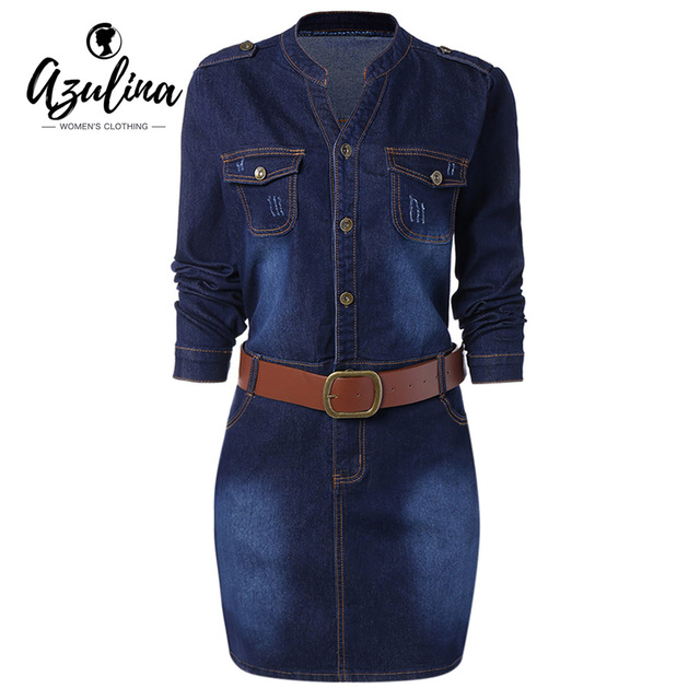 AZULINA Plus Size Fitted Belted Denim Jean Dress Women Sheath Stand Collar Long Sleeve Denim Dresses Vestido Casual Dress Female