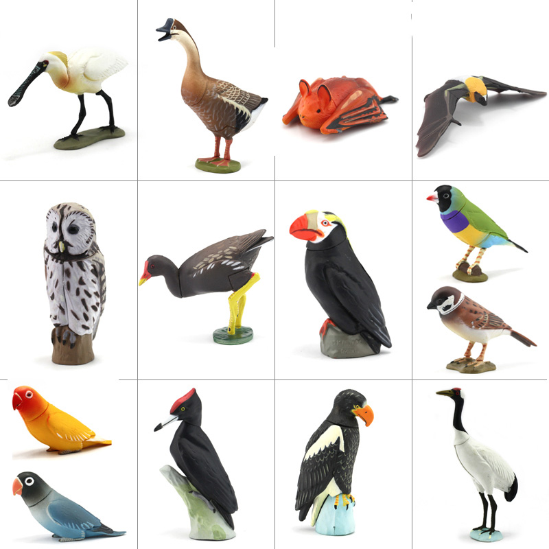 Japan Genuine Bulk Animals Crested Ibis Tufted Puffin Parrot Woodpecker Owl Figurine Extinct Collectible Figures For Children