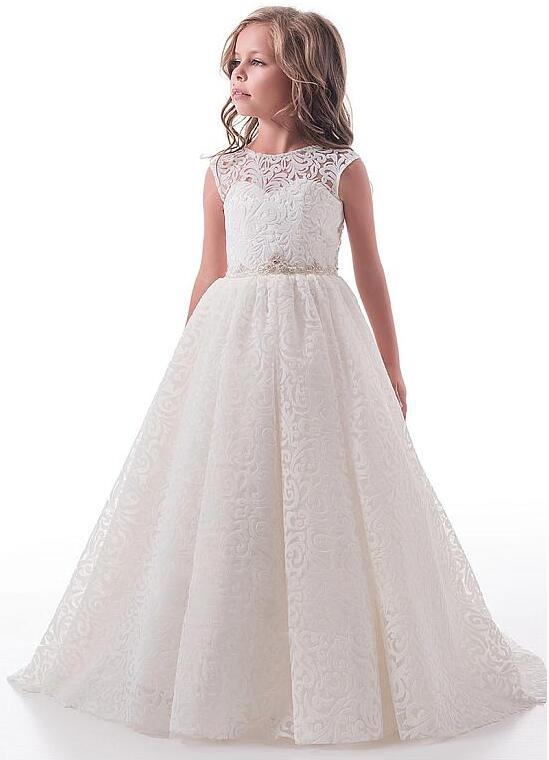 Romantic 2018 New Flower Girl Dresses First Communion Dress Birthday Party Sweet Design Elegant Lace Custom Any Size elegant lady lace flower and fascinator veil design banquet party black cocktails hat