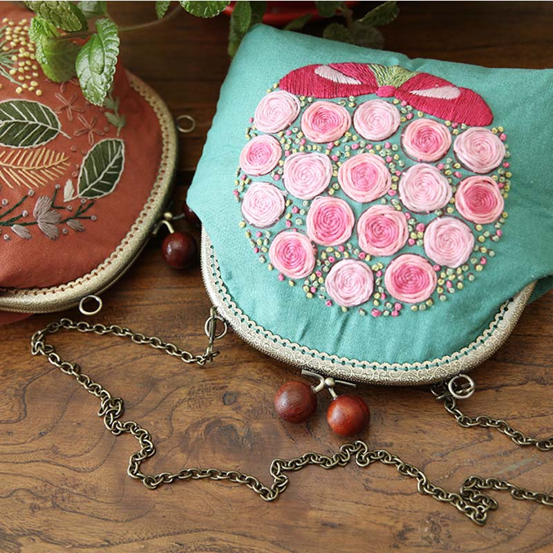 DIY Embroidery Bag Kits Floral Needlework Phone Coin Chain Bags Cross Stitch Sets with Embroidery Hoop Birthday Christmas Gift Сумка