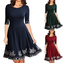 Women Fashion Fit and Flare Print Casual Dress Half Sleeve O-neck Print Casual Slim S-5XL Dress недорого
