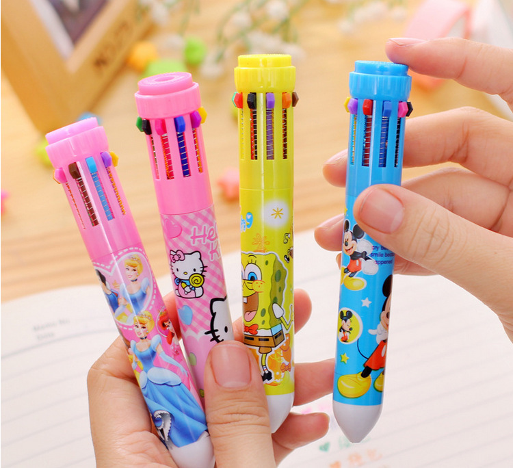 50pcs/set at random Multicolore Ball Pen Stationery 10 Colors Each Ballpoint Pen Cute Cartoon Pen Multi-color Office Stationery