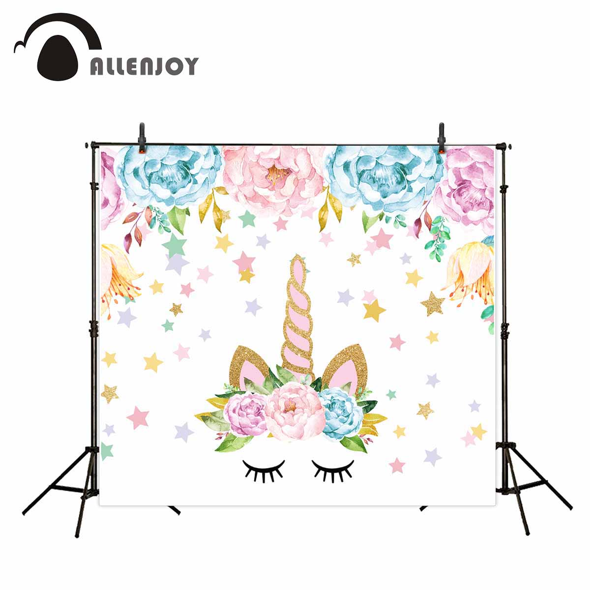 Allenjoy photo background Cute unicorn background flower gouache style stars fairy tale for photo background for photography vinyl photography background fairy tale