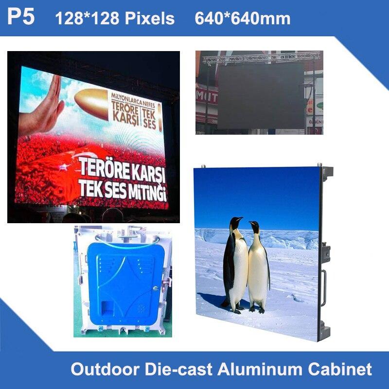 TEEHO Led Outdoor P5 Diecasting Cabinet Rental 640mm*640mm Ultra Slim 1/8 Scan Advertising Led Display Module Cabinet Billboard
