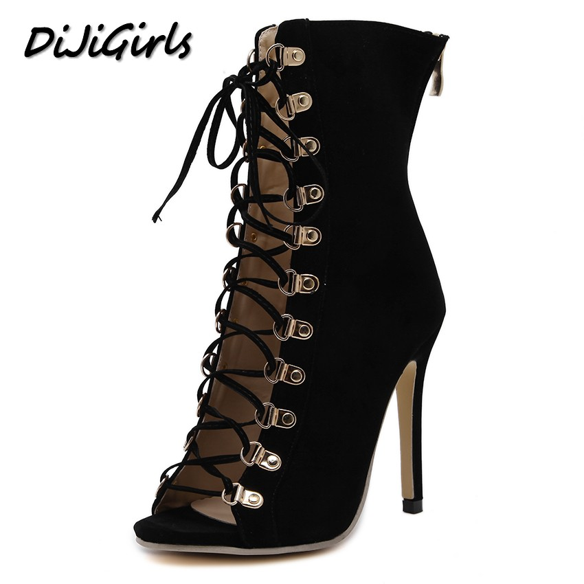 купить DiJiGirls women pumps peep toe high heels gladiator sandals shoes woman party wedding flock leather stiletto lace up summer boot онлайн