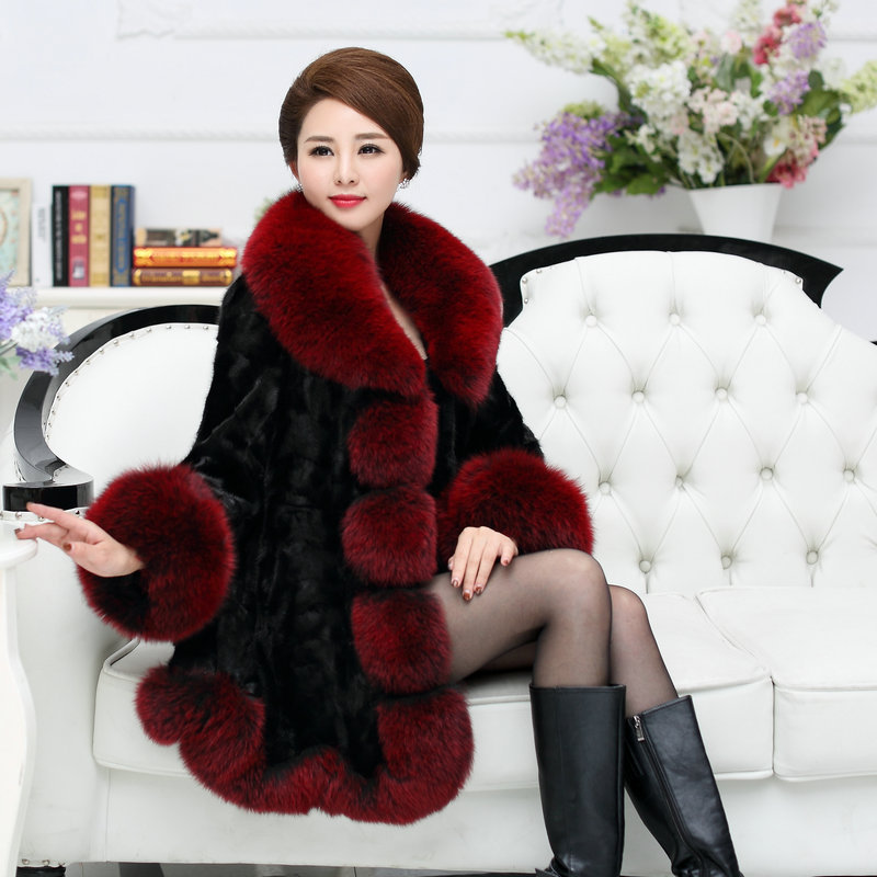 Top Quality Natural Mink Fur Coats Outerwear Women Real Fur Jacket With Large Fox Fur Collar Trim Cuff 2018 Autumn Winter