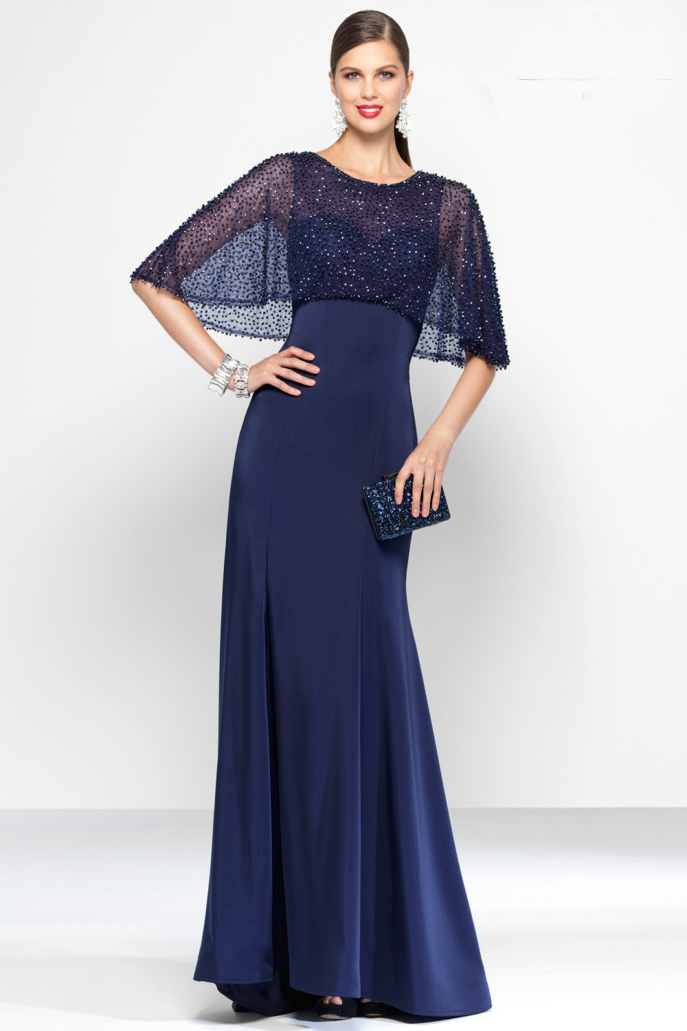 addcaea27 Chic Stylish O Neck Half Sleeve Closed Back Satin Long Formal Dress for  Evening Party with Beading Tunic Robe De Soiree Longue-in Evening Dresses  from ...
