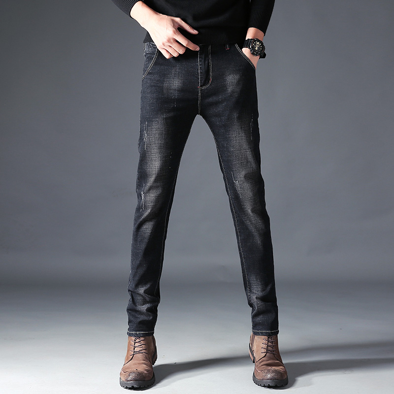 Mens Jeans Gray Black Slim Thin Designer Jeans Business Casual Cotton Stretch Jeans Casual Jeans Classic High Quality Trousers