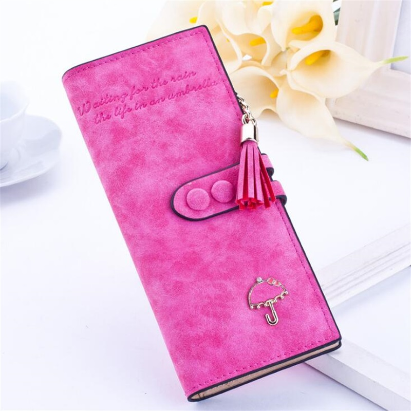 Fashion Luxury Brand Designer Long Hasp Women Wallet Clutch Leather Tassel Zipper Purse With Umbrella Card Holder Coin Money Bag fashion colorful lady lovely coin purse solid golden umbrella clutch wallet large capacity zipper women small bag cute card hold