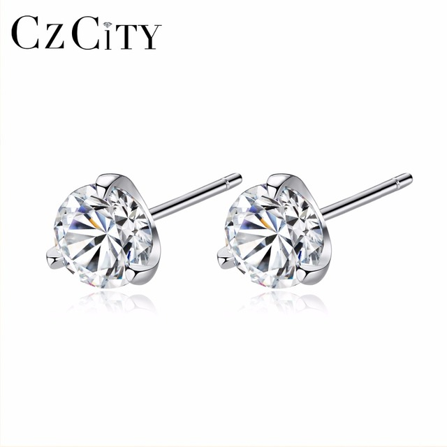 CZCITY Clear CZ Stud Earrings Simple Three Claws Size 3mm/ 4mm/ 5mm/ 6mm 925 Sterling Silver Women Earrings Jewelry Daily Wear