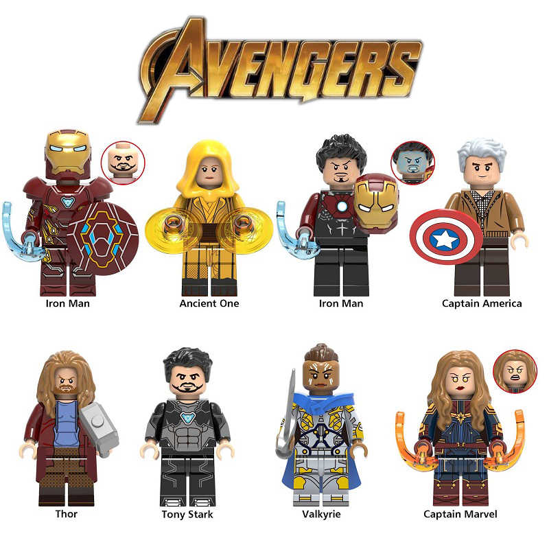 Legoed Marvel Super Heroes Playmobil Building Blocks Iron Man Thor Thanos Minifigured Children Gifts Toys Avengers Endgame