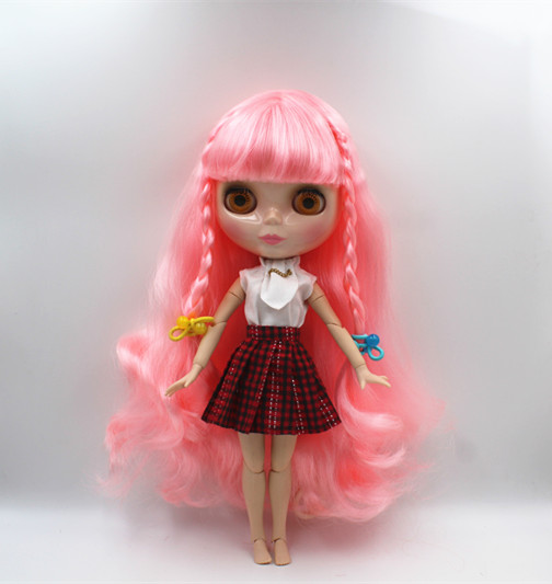 Blyth doll Pink, bangs, curly-haired nude dolls, 19 joint human bodies, cute fashion gift dolls. free shipping bjd joint rbl 415j diy nude blyth doll birthday gift for girl 4 colour big eyes dolls with beautiful hair cute toy
