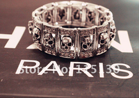 New Gothic Punk Silver Skull Bracelets Bangles Stretchy Wide Cuff Skull Charm Bracelets For Women Men