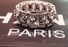 New Gothic Punk Silver Skull Bracelets & Bangles Stretchy Wide Cuff Skull Charm Bracelets For Women Men Jewelry Wholesale