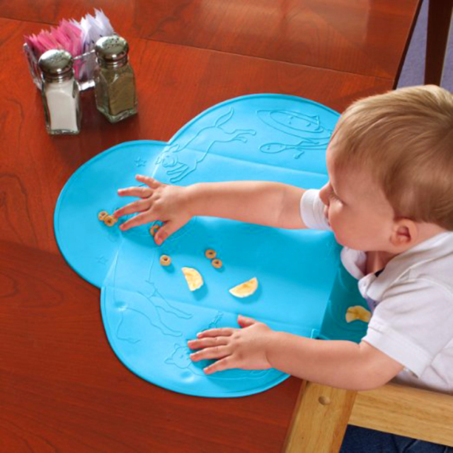 Silicone Baby Bib Table Mat Infant Tiny Diner Portable Placemat for Kids Baby Feeding Silicone Baby Placemat