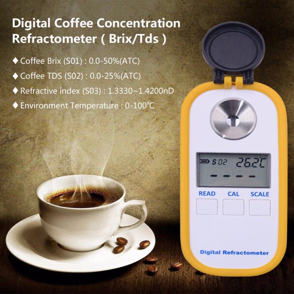 0-50% brix Café Sucre Mètre TDS 0-25% concentration réfractomètre numérique Portable électronique réfractomètre