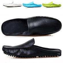 US5-10 Мода НАТУРАЛЬНАЯ Кожа Повседневная SLIP-ON Новый Мужчины Пенни Loafer Кожа Мулы Открытой Спиной Дизайнер Тапочки Обувь
