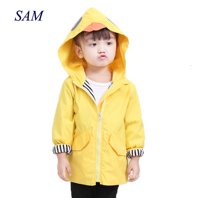 Ins autumn new baby boys and girls cute waterproof jacket children's cartoon hooded trench stripe splicing outerwear for kids