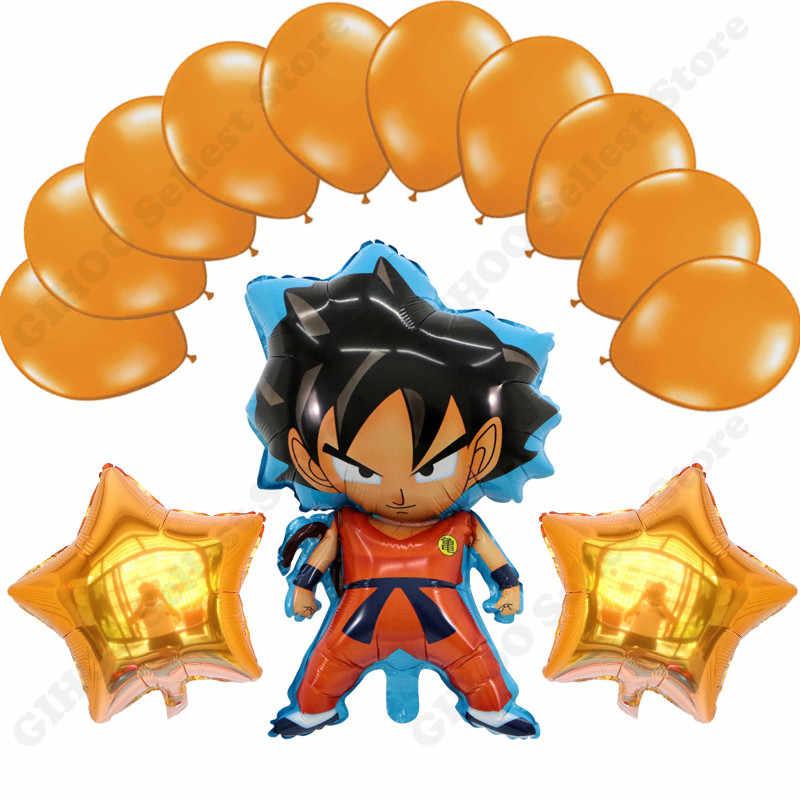 13 pçs/lote 78*45cm z son goku dragon ball laranja fluorescente estrela látex balão festa decoração abastecimento layout decorativo balão