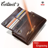 Crazy Horse Genuine Leather Men Wallet Zipper Coin Purse And Card Male Clutch Bag For Cell