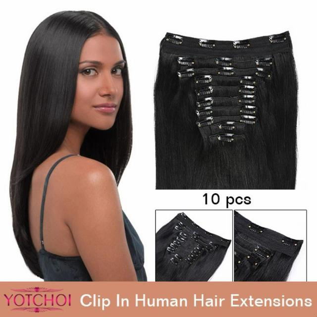 """Yotchoi clip in sets products 10pcs clip in human hair extensions 14""""-30"""" straight natural colour 5A grade human hair extensions"""