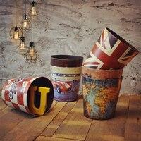 American Vintage Large Household Trash Bucket Decoration Paper Basket Storage
