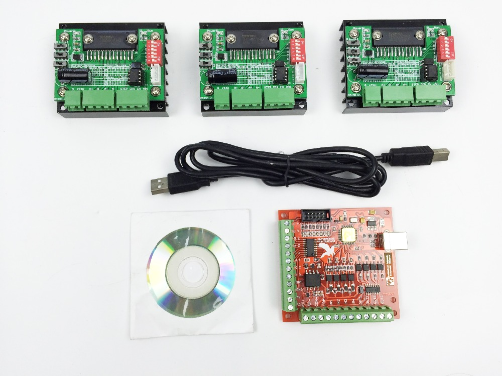 CNC Router mach3 USB 3 Axis Kit, 3pcs TB6560 1 Axis Driver Board + one mach3 4 Axis USB CNC Stepper Motor Controller card 100KHz cnc 3 axis controller tb6560 stepper motor driver board with 0 10v spindle regulation one db25 caple