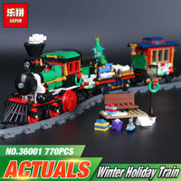 Lepin 36001 770Pcs Creative Series The Christmas Winter Holiday Train Set Children Building Blocks Bricks Educational