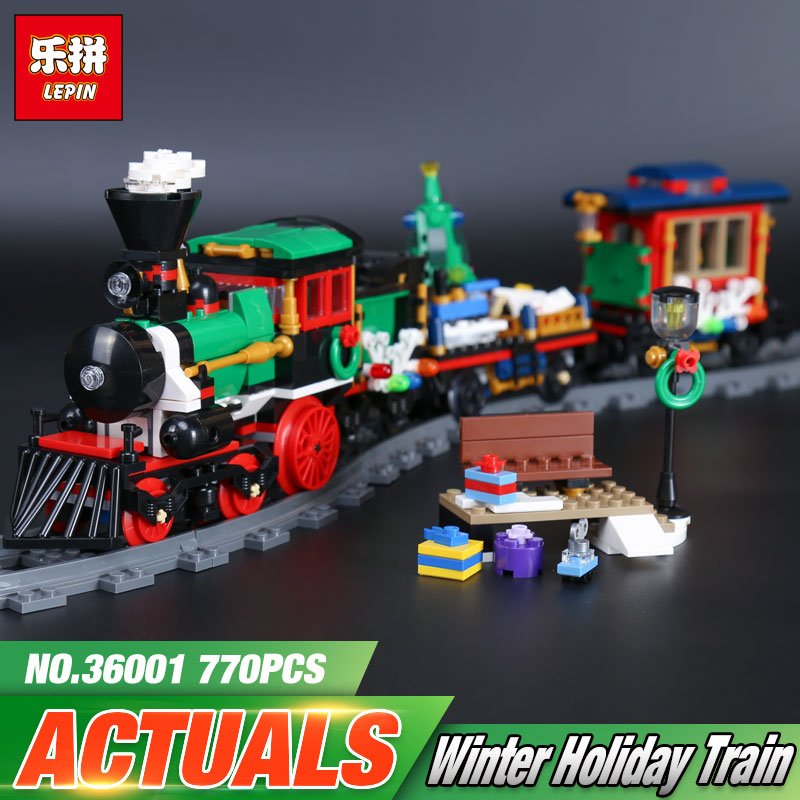Lepin 36001 770Pcs Creative Series The Christmas Winter Holiday Train Set 10254 Building Blocks Bricks Boy`s Toys Christmas Gift lepin 30011 genuine 750pcs creative series the breakout from the king s fortress set 41188 building blocks bricks toy boy s gift