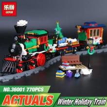 Lepin 36001 770Pcs Creative Series The Christmas Winter Holiday Train Set 10254 Building Blocks Bricks Boy`s Toys Christmas Gift