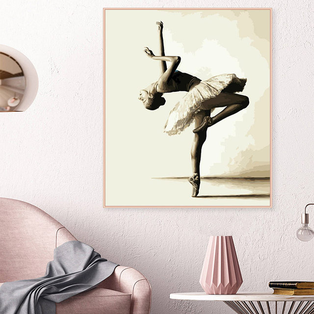 Online Shop Framed Beautiful Dancing Women Painting By Numbers Kits